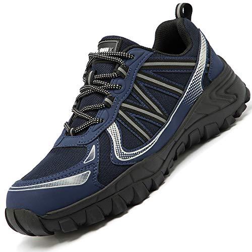 Zapatos de Seguridad para Hombre con Puntera de Acero Zapatillas de Seguridad Trabajo, Calzado de Industrial y Deportiva(D Azul,45 EU)