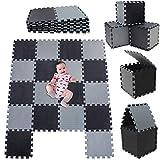 NLRHH Azulejos de Espuma de Espuma de 18 unids | Colinas de Piso entrelazadas para Azulejos de Espuma Multicolor |Jigsaw Azulejos Playmat .Size 1.62 SQM Play Play Mat.Black-Beige-Grey-041012G18 Peng