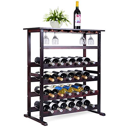 GOPLUS Weinregal aus Holz, Flaschenregal für 24 Flaschen, Gläserregal Flaschenständer Weinflaschenhalter Weinständer Flaschenständer