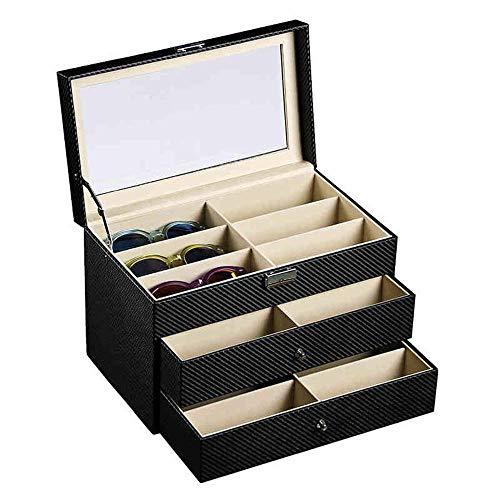 AJH Cajas Organizadores 3 Capas Organizador de exhibición de Gafas de Sol Caja de Almacenamiento y coleccionista de anteojos Ideal para la Vista Joyas Llaveros Relojes Organizador de e