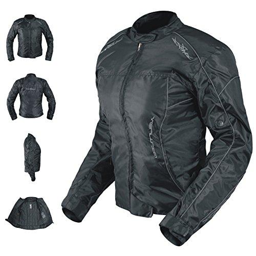 Veste Blouson Femme Moto Nylon Oxford Gilet Thermique Protections noir M