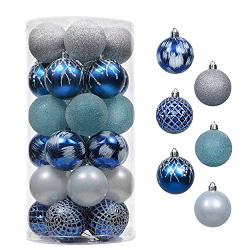 Valery Madelyn 30ct 60mm Winter Wishes Silver Blue Shatterproof Christmas Ball Ornaments Decoration for Christmas Tree