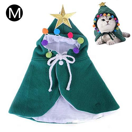longrep Katze Weihnachten Kostüm, Haustier Katze Weihnachten Kostüm mit Hut, Katzenkostüm Cape Warme Weihnachtskleidung,Party Holiday Dress Up Pet Bekleidung für Katzen Kleine Hunde