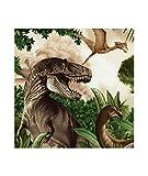 Grünbrauner bunte Dinosaurier Wasser Stoff von Timeless