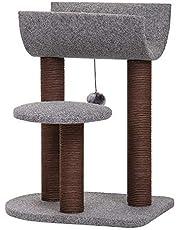 Catry 猫 木 猫 タワー 猫 活動 用 スクラッチ ポスト と おもちゃ ボール 付 M サイズ グレー、ブラウン