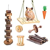 Supmaker Guinea Pigs Toys, 7Pack Natural Wooden Hamster Toys Accessories,Chinchillas Toys Accessories,Teeth Care Molar Toy for Birds Bunny Rabbits Gerbils Rats and Other Small Pets