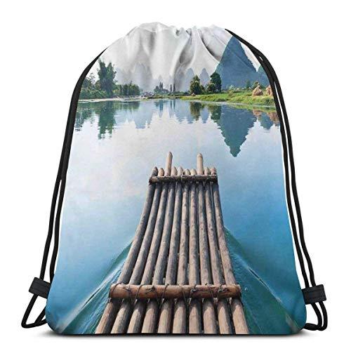 XCNGG Bolsas con cordón Bolsa de deporte para gimnasia Viaje, paisaje natural desde un puerto de bambú junto al río con estampado de montaña y árbol
