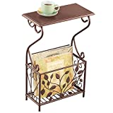 Scroll Leaves Iron and Wood Magazine Holder Side Table, Bronze Colored Finish