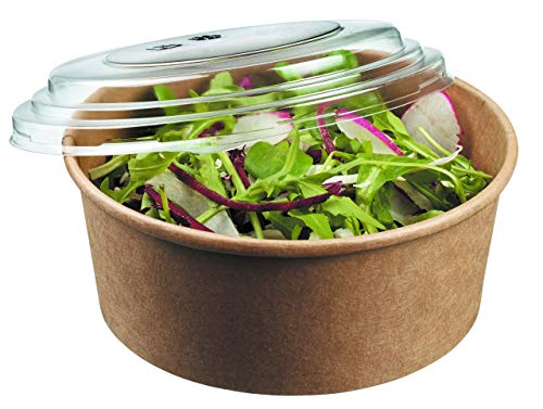 45 Pack, Deli Kraft Paper Bowl With Secure Clear Lids  Eco-Friendly Microwavable Round Food Containers   Hot Or Cold Dish To Go Packaging, Great For Restaurants And Take Outs.(26 oz, Kraft Bowls)