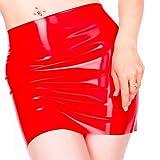 EXLATEX Women's Latex Rubber Gummi Black Mini Skirt (Large, Black)