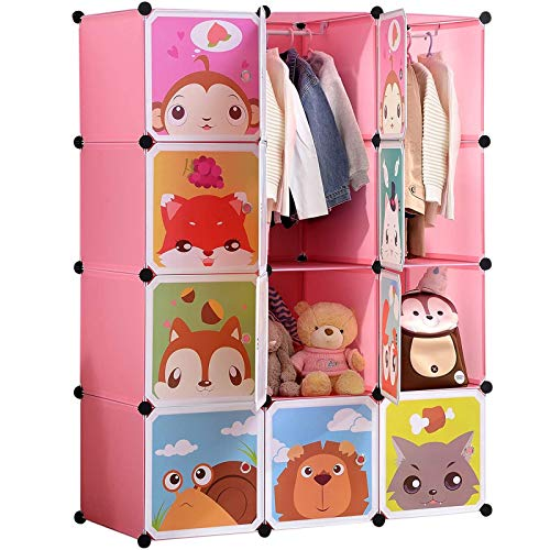 BRIAN & DANY Portable Cartoon Clothes Closet Wardrobe DIY Modular Storage Organizer, Sturdy and Safe for Children, 8 Cubes & 2 Hanging Sections, Pink