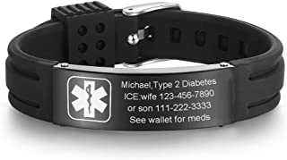 VNOX Customize Silicone Rubber Stainless Steel Medical Alert ID Adjustable Cuff Bracelet,Multi Color Option