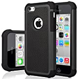 iPhone 5C Case, iPhone 5C Cover, Jeylly Shock Absorbing Hard Plastic Outer + Rubber Silicone Inner Scratch Defender Bumper Rugged Hard Case Cover for iPhone 5C - Black