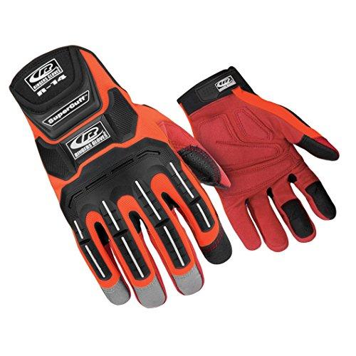Ringers Gloves R-14 Mechanics Orange, Cut and Impact Protection, Padded Palm, Large