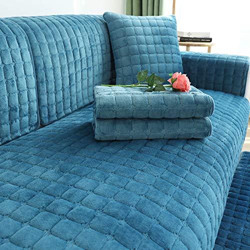 QSCV Terciopelo Felpa Fundas para Sofa,Suave Antideslizante Protector De Muebles para Perros Gatos Mascotas Chaiselongue En Forma De L,Funda Sofá-Azul W70xl150cm 1pcs