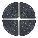 Set de 4 sujeciones para Parasol excéntrico rellenables Negras de HDPE de 48x48x7 cm - LOLAhome