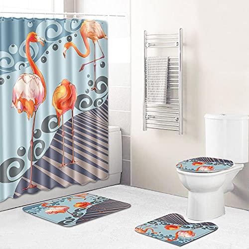 Duschvorhang-Sets,Orange-braune Cartoon-Flamingo-Herde 4-teiliges wasserdichtes Badematten-Set Badteppiche Toilettendeckelabdeckung Kontur Duschvorhang Mit 12 Haken Dekoration,180x180 cm