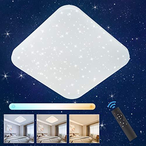 LED Deckenleuchte Sternenhimmel Dimmbar, Oeegoo 24W LED Deckenlampe mit Fernbedienung, 1680LM LED Starlight mit Sternendekor für Kinderzimmer Wohnzimmer Schlafzimmer Esszimmer, Hotel.