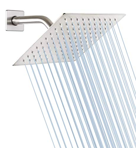 GGStudy Square 8 Inch Square Stainless Steel Shower Head - Rain Style Shower Head Brushed Nickel
