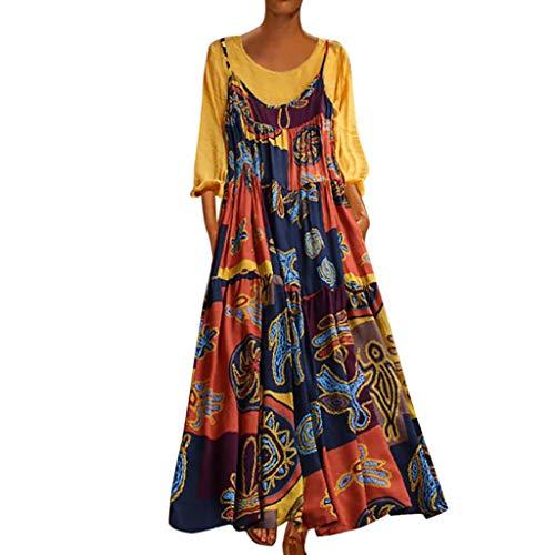 Leinen Kleider Mode Damen Plus Size Sommerkleid Patchwork Freizeitkleider Zweiteilige Oansatz Tuchkleid Blusenkleid Bohemian Print Vintage Maxi-Kleid Gelb 3XL