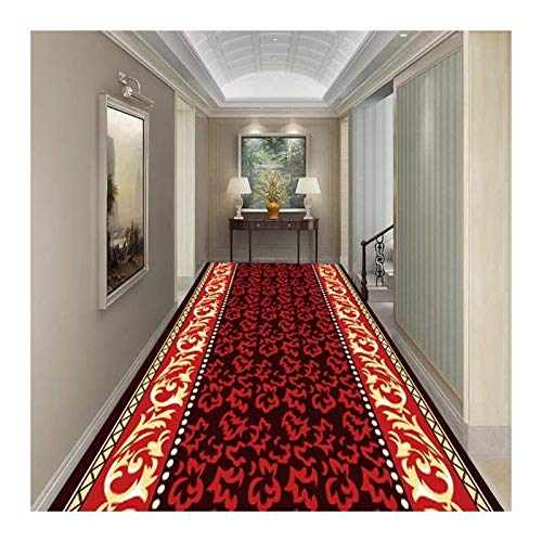 HEJINXL Running Carpet Rug For Kitchen Entryway Household Crystal Velvet Corridor Rugs Living Room Red Flower Carpet Easy To Clean Kitchen Hallway Long Carpet (Color : A, Size : 150cmx100cm)