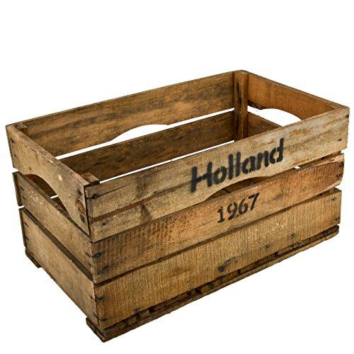 Dadeldo Holzkiste Holland 1967 Design Motiv Vintage-Used Design 30x59x35cm braun Weinkisten Landhaus Kolonial