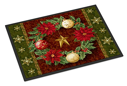 Caroline's Treasures PTW2007JMAT Holly Wreath with Christmas Ornaments Indoor or Outdoor Mat 24x36, 24H X 36W, Multicolor