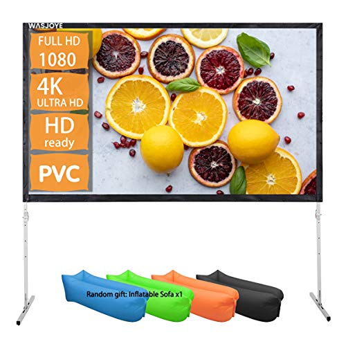 WASJOYE - Pantalla de proyector para exteriores con soporte 16:9, 8K 4K Ultra HD 3D, plegable, portátil, cine de cine de 120 pulgadas, para interiores, plegable y fácil de ajustar (120 pulgadas)