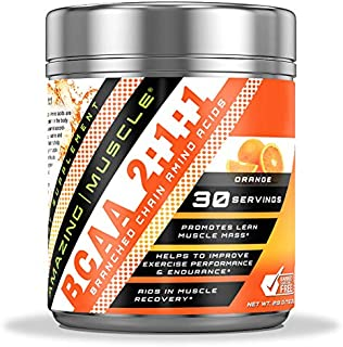 Sponsored Ad - Amazing Muscle BCAA 2:1:1 Branched Chain Amino Acids - 6,000 MG - 30 Servings - Promotes Lean Muscles - Sup...
