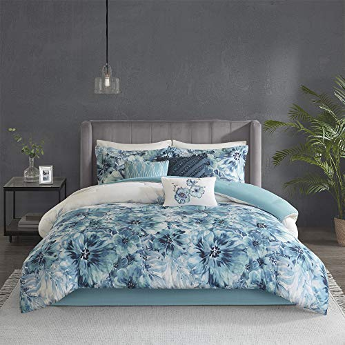 Madison Park 100% Cotton Comforter Contemporary Floral Design All Season Set, Matching Bed Skirt, Decorative Pillows, Cal King(104'x92'), Teal