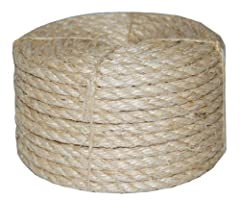 Sisal is a natural fiber rope Biodegradable and economical fiber Oil and chemical free Safe for use with pets Working Load 180 lbs