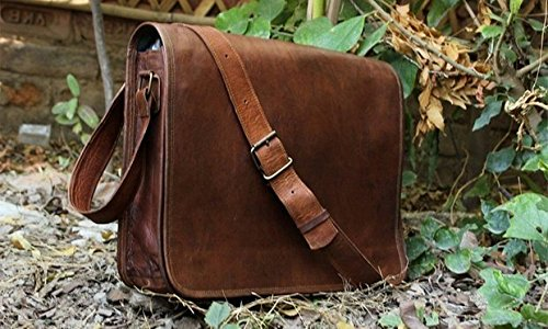 Leather Full Flap Messenger Handmade Bag Laptop Bag Satchel Bag Padded Messenger Bag School Bag Brown