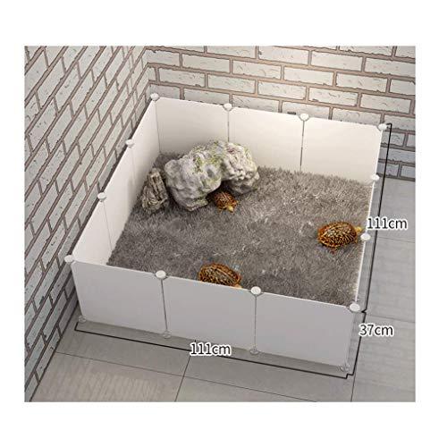 GBY Haustierzaun, quadratischer Haustierzaun, geeignet für kleine Hunde und Landschildkröten, weiß, 111 * 111 * 47 cm