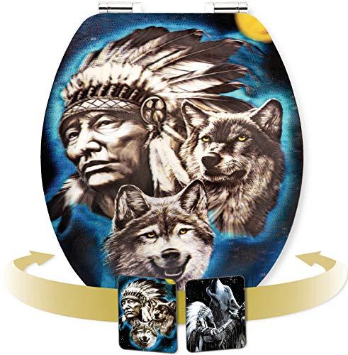 Cornat WC-bril - hologram-effect met wisselmotieven - hoogwaardige houten kern - softclose-mechanisme & snelle montage - comfortabel zitgevoel/toiletbril/wc-deksel Howling Wolf Howling Wolf