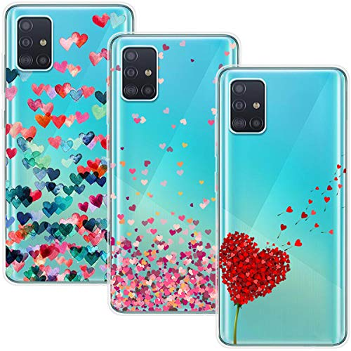 Young & Ming Funda para Samsung Galaxy A71 4G [No para 5G], (3 Pack) Transparente TPU Silicona Carcasa Delgado Antigolpes Resistente, Amor