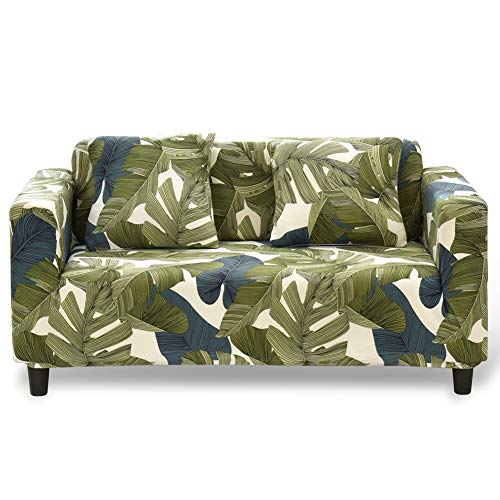 HOTNIU Stretch Sofa Cover 3 Seater - Printed Elastic Polyester Spandex Couch Covers - Universal Fitted Sofa Slipcover Furniture Protector (Green Leaves)