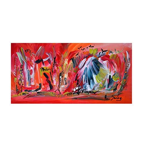 nr Abstrakte rote Kunst Leinwand Malerei Tableau Rouge Wand Bild für Wohnzimmer Moderne Dekoration Poster 50x100cm ungerahmt