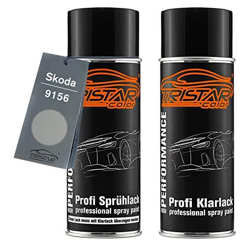TRISTARcolor Autolack Spraydosen Set für Skoda 9156 Brilliant Silver Metallic/Gris Argent Metallic Basislack Klarlack Sprühdose 400ml