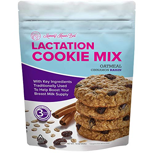 Lactation Cookies Mix Breastfeeding Supplement Oatmeal Cinnamon Raisin Breast Feeding Cookie Supplement Support Snacks with Brewers Yeast for Breast Milk Supply Increase