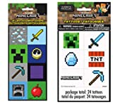 Pixel Based Mining Video Game Stickers and Tattoos for Birthdays, Kids Gaming Party, Sports Gathering, Play Day, or Any Fun Occasion