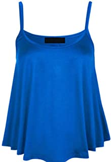 GeekChef Camisole Vests Classic Swing Shape Top Strappy Sleeveless Design For Women & Girls Chic Flared-Blue; Size XXL