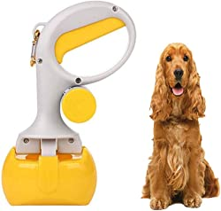 FXQIN Portable Dog Pooper Scoopers, Pet Waste Pick Up Jaw Scooper, Great for Outdoor Walking, Pet Dog Waste Bag Holder/Easy to Use/Lightweight