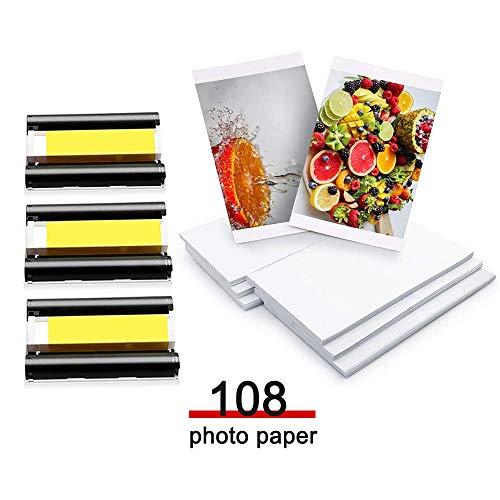Ersatz Canon Selphy CP1300 CP1200 CP910 fotopapier und kartusche, Fotopapier KP-108IN 3115B001 (AA) Kompatibel mit Canon Selphy Drucker, 3 Farbtintenpatrone und 108 Blatt Druckerpapier (4 x 6 Zoll)