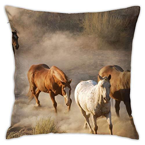 Affordable shop Funda de almohada decorativa para el hogar, diseño de caballos y animales, para sofá, cama, coche, 45,72 x 45,72 cm