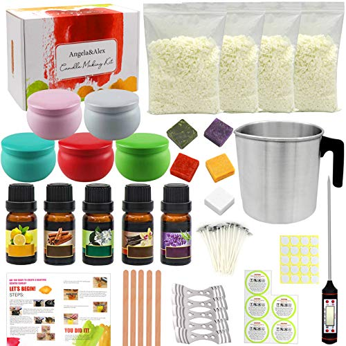 Candle Making Kit, Angela&Alex 77 Pcs DIY Kit Soy Bean Craft Tools for Beginners Includes Candle Make Pouring Pot, Candle Wicks, Wicks Sticker Natural Soy Wax Candle Tins with Lids Gifts