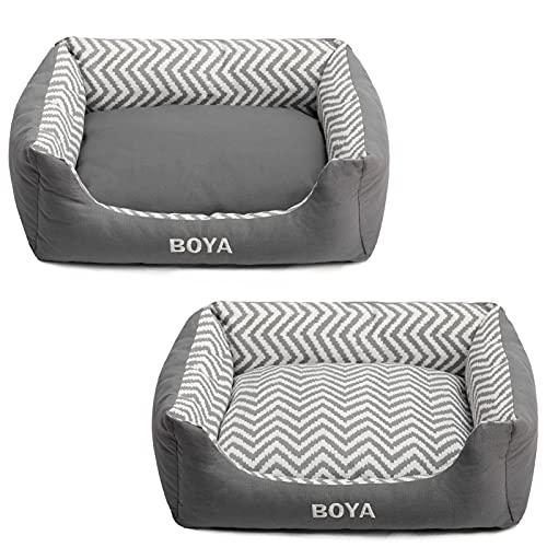 BEJOY Cama para gatos y perros pequeños, cojín extraíble con cremallera, color gris (53 x 42 x 18 cm)