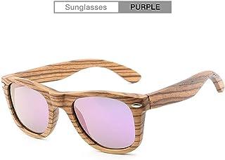 WUZHOUAME Hombres y Mujeres Moda Vintage Retro Gafas de Sol de bambú Hechas a Mano Gafas de Sol polarizadas Classic Unisex UV400 (Color : Purple)