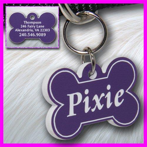 Personalized Custom Engraved Plastic Pet Dog ID Tag 2-sided Bone Purple/White