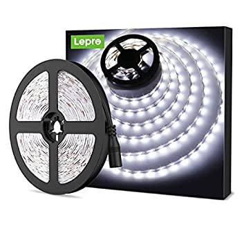 LE 12V LED Strip Light Flexible SMD 2835 16.4ft Tape Light for Home Kitchen Party Christmas and More Non-Waterproof Daylight White Not Include Power Adapter