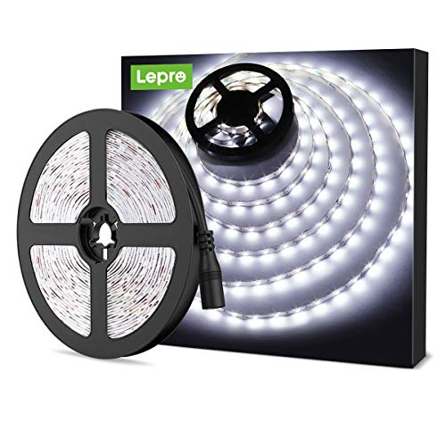 LE 12V LED Strip Light, Flexible, SMD 2835, 16.4ft Tape Light for Home, Kitchen, Party, Christmas and More, Non-Waterproof, Daylight White(Not Include Power Adapter)